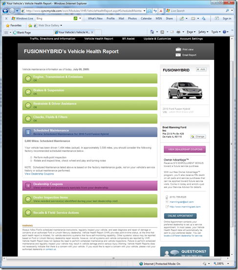 Ford Flex Vehicle Health Report